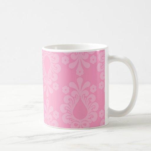 modelo floral del damasco del rosa en colores past taza