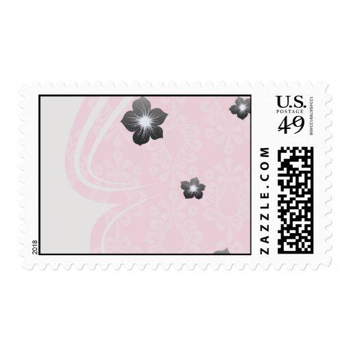 modelo floral del damasco del rosa en colores franqueo