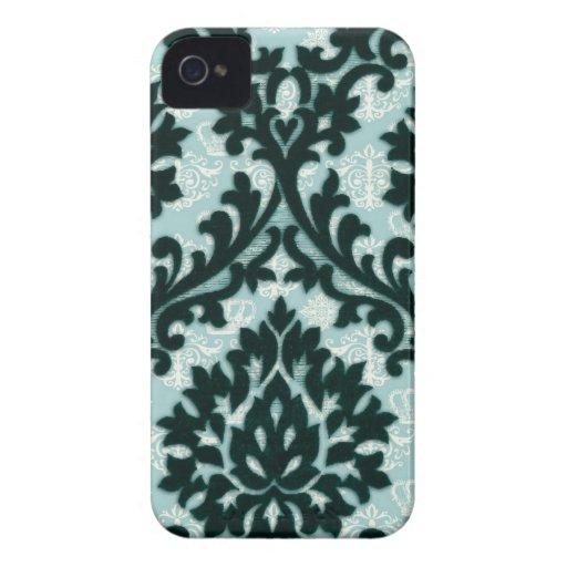Modelo floral del damasco del trullo negro del Case-Mate iPhone 4 carcasa