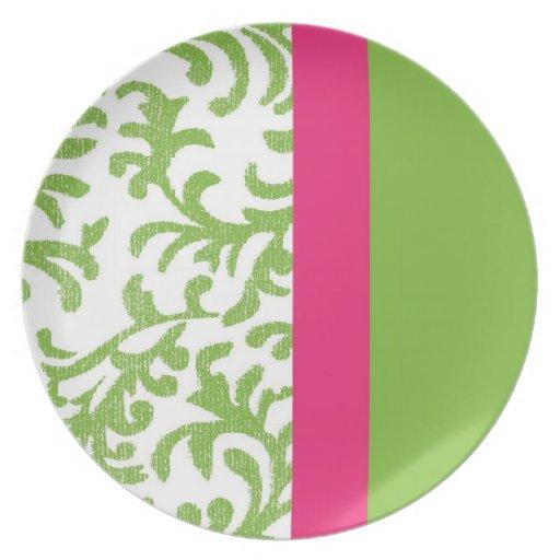 Modelo floral del damasco del verde y del rosa plato de comida