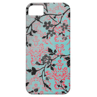 Modelo floral del damasco del vintage de la menta funda para iPhone SE/5/5s