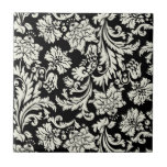 Modelo floral del damasco del vintage negro y blan teja cerámica