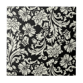 Modelo floral del damasco del vintage negro y blan azulejo cuadrado pequeño
