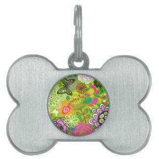 Modelo floral del Doodle Placas De Nombre De Mascota