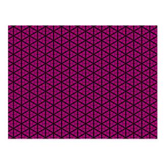 Modelo floral del enrejado del rosa y del negro tarjetas postales