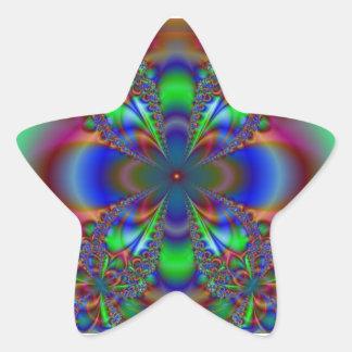 Modelo floral del fractal pegatina en forma de estrella
