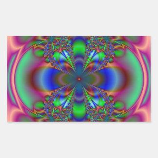 Modelo floral del fractal pegatina rectangular
