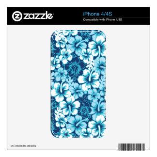 Modelo floral del hibisco de la resaca iPhone 4 skins