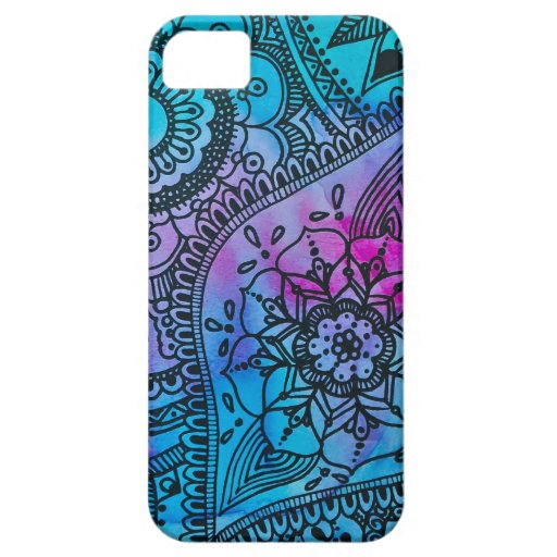 Modelo floral del Hippie - caja azul del iPhone 5 iPhone 5 Funda