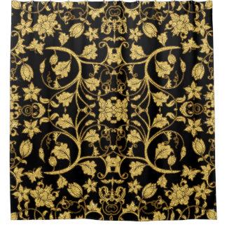 Modelo floral del oro del negro de la vid de la cortina de baño
