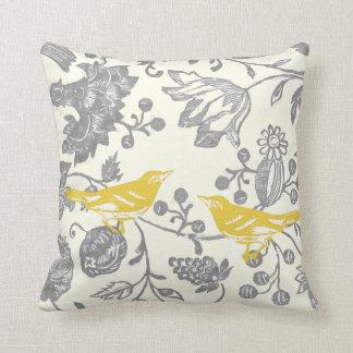 Modelo floral del pájaro del vintage de marfil gri