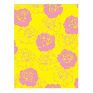 Modelo floral del rosa rosado y amarillo tarjeta postal
