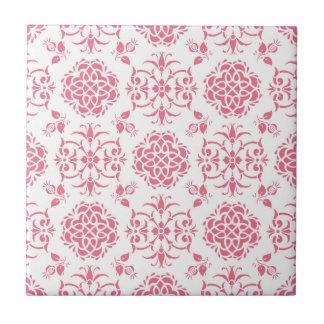 Modelo floral del rosa y blanco del damasco del azulejo cuadrado pequeño