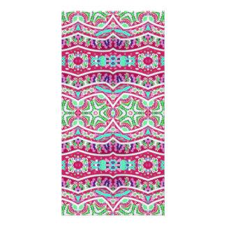 Modelo floral del trullo rosado abstracto colorido tarjeta fotográfica
