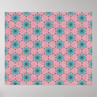 Modelo floral del trullo rosado abstracto moderno póster