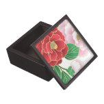 Modelo floral del vector del vintage rosado rojo caja de recuerdo de calidad