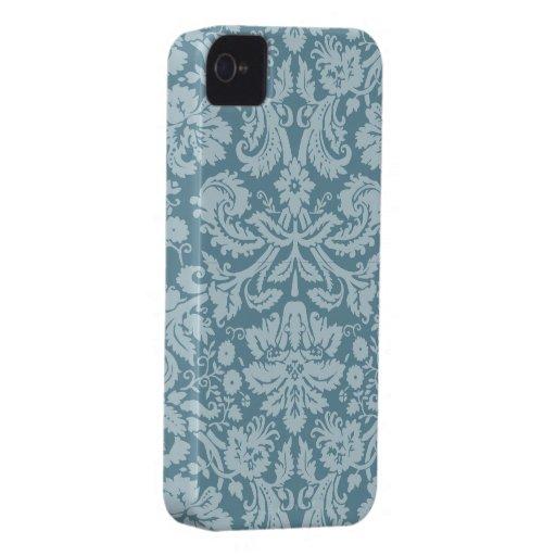 Modelo floral del verde azul del nouveau del arte  iPhone 4 cárcasas