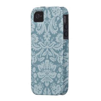 Modelo floral del verde azul del nouveau del arte iPhone 4/4S funda