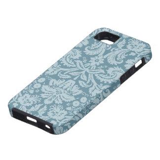 Modelo floral del verde azul del nouveau del arte  iPhone 5 cárcasa