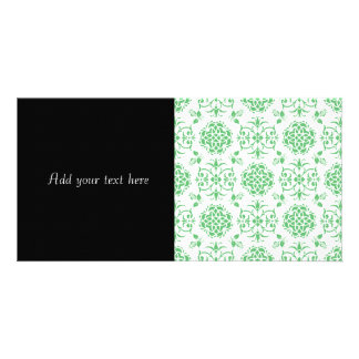 Modelo floral del verde menta y blanco del damasco tarjetas fotograficas