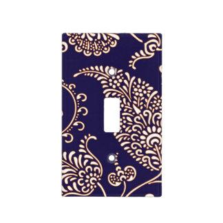 Modelo floral femenino de la alheña de Paisley del Placa Para Interruptor