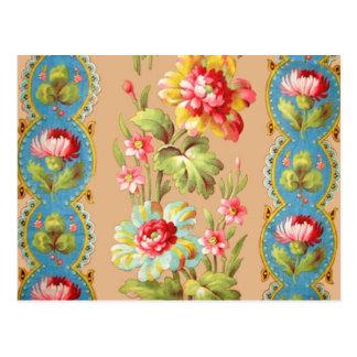 Modelo floral francés de la materia textil del vin postal