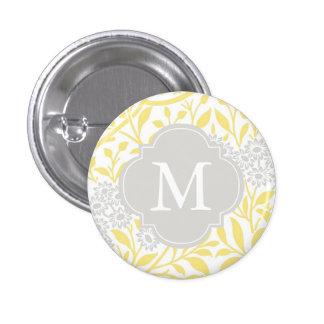 Modelo floral gris amarillo con monograma del dama pin