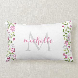 Modelo floral gris rosado personalizado del cojin