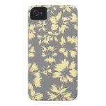 Modelo floral gris y amarillo iPhone 4 Case-Mate fundas