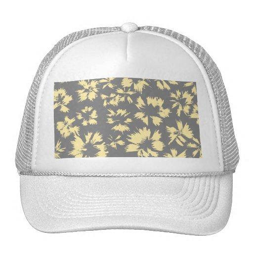 Modelo floral gris y amarillo gorra