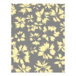 Modelo floral gris y amarillo membretes personalizados