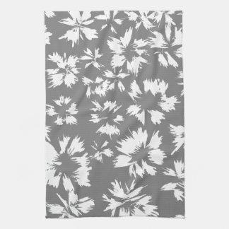 Modelo floral gris y blanco elegante toallas de mano