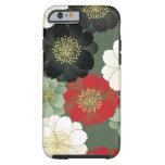 Modelo floral japonés del kimono del vintage funda de iPhone 6 tough