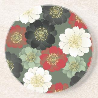 Modelo floral japonés del kimono del vintage posavasos manualidades