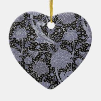 Modelo floral maravilloso de William Morris Adorno Navideño De Cerámica En Forma De Corazón