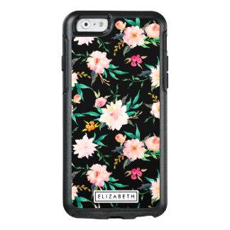 Modelo floral negro blanco rosado de moda de la funda otterbox para iPhone 6/6s