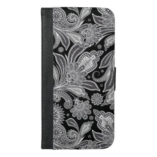 Modelo floral negro y blanco de Paisley