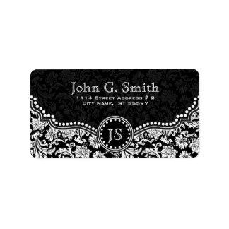 Modelo floral negro y blanco del damasco etiqueta de dirección