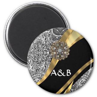 Modelo floral negro y blanco del damasco imán redondo 5 cm