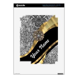 Modelo floral negro y blanco del damasco iPad 3 skins