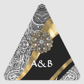 Modelo floral negro y blanco del damasco pegatina triangular