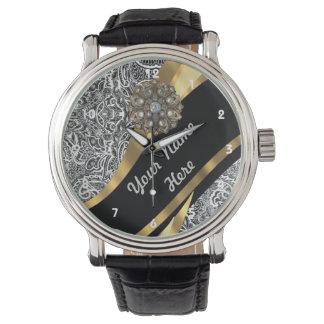 Modelo floral negro y blanco del damasco relojes de mano