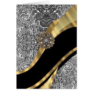 Modelo floral negro y blanco del damasco tarjeta