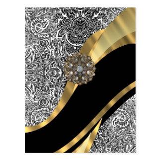 Modelo floral negro y blanco del damasco postal