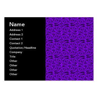 Modelo floral negro y púrpura de Swirly Tarjetas De Visita Grandes