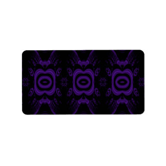 Modelo floral negro y púrpura gótico etiqueta de dirección