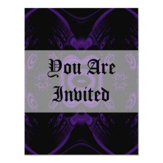 """Modelo floral negro y púrpura gótico invitación 4.25"""" x 5.5"""""""