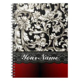 Modelo floral negro y rojo del damasco libreta