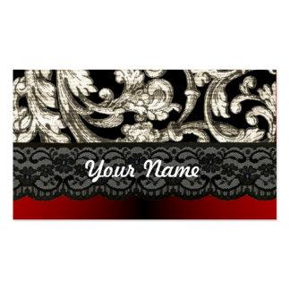 Modelo floral negro y rojo del damasco tarjetas de visita