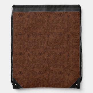 Modelo floral oscuro lindo de Brown Paisley Mochilas